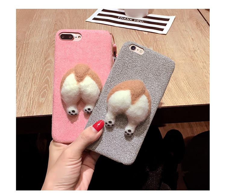 Corgi case handmake igły filcu wełnianego słodkie cat dog tyłek tyłek pokrywa dla apple iphone 6 6s plus iphone 7 7 p miękkie telefon komórkowy case 2
