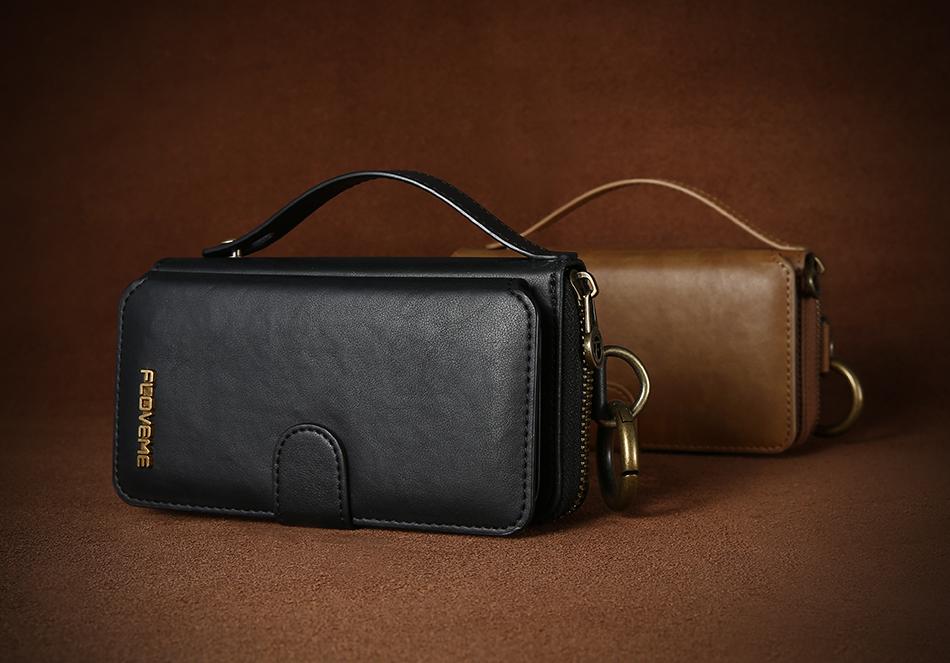 Floveme vintage leather wallet phone case for iphone 7 7 plus 6 6 s plus retro torebka slot kart pokrywa dla samsung s7 s8 coque 11