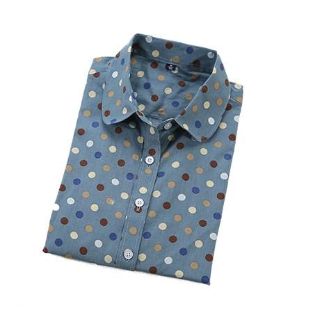 2016 Plus Size Polka Dot Bawełna Kobiety Bluzki Koszule Długie rękaw Kobiety Koszule Turn Down Collar Bawełna Dorywczo Koszula Kobiet topy 13