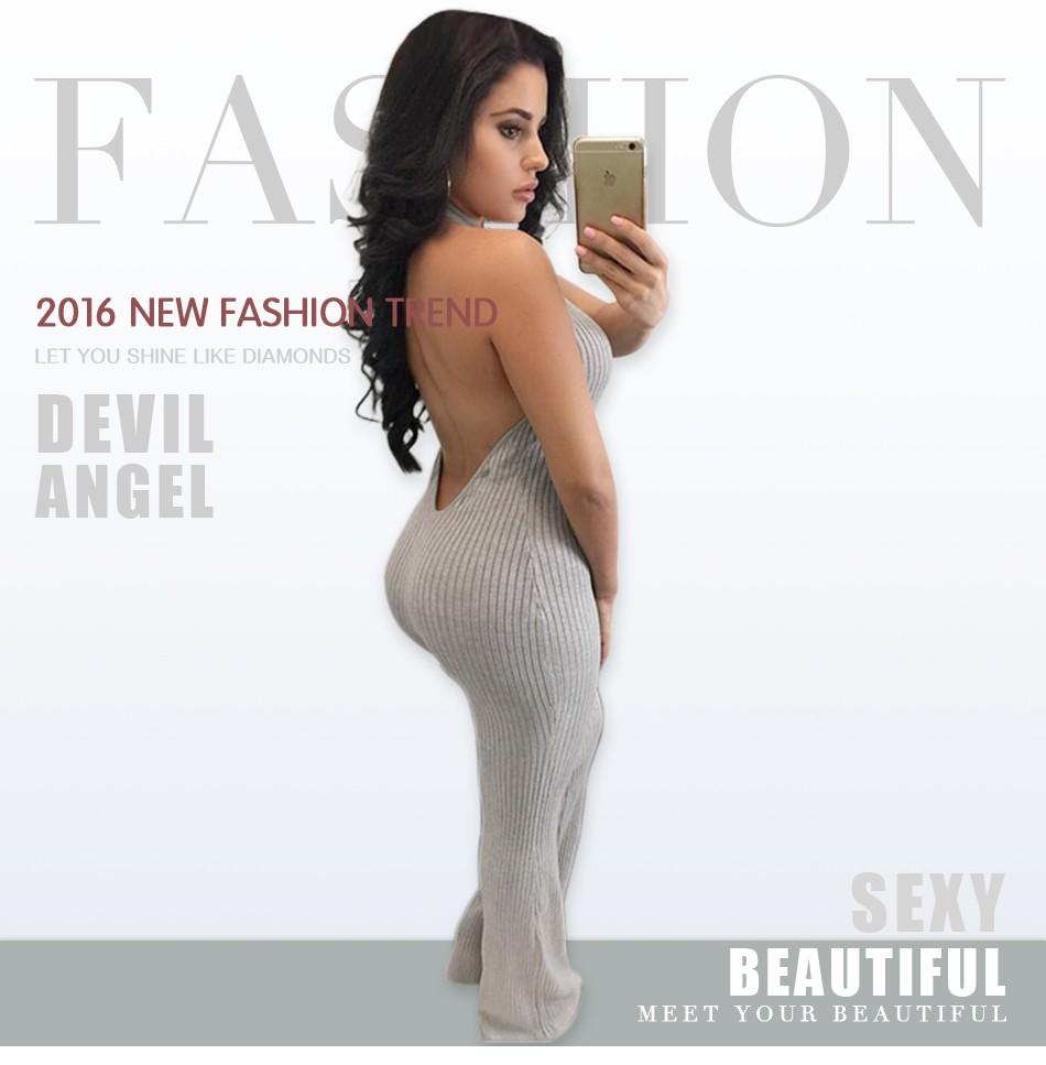 Kobiet Nowej Mody Pajacyki I Kombinezony Kobiety Sexy Backless Rękawów Kombinezony Playsuit Body Eleganckie Dzianiny 5