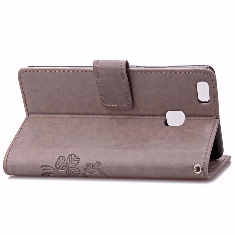 Cztery Liść Koniczyny Skrzynka dla Huawei P9 Okładka Huawei P9 Lite odwróć Wallet Case dla Huawei Hoesjes P9 Plus Telefon Coque PU skóra 5