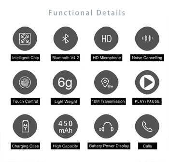 TWS Touch Two Bluetooth5 0 Earphone mini Earbuds Wireless Waterproof