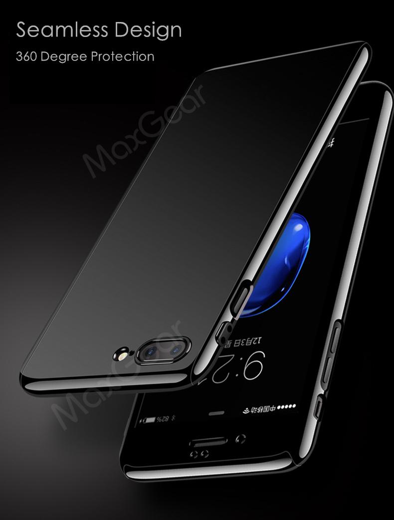 Luksusowe Piano Black 360 Stopni Ciężka PECET Skrzynki Dla Apple iPhone 5 5S SE 6 6 S 7 Plus Szczupła Całe Ciało Pokrywa Capa + Szklany Ekran Protector 4