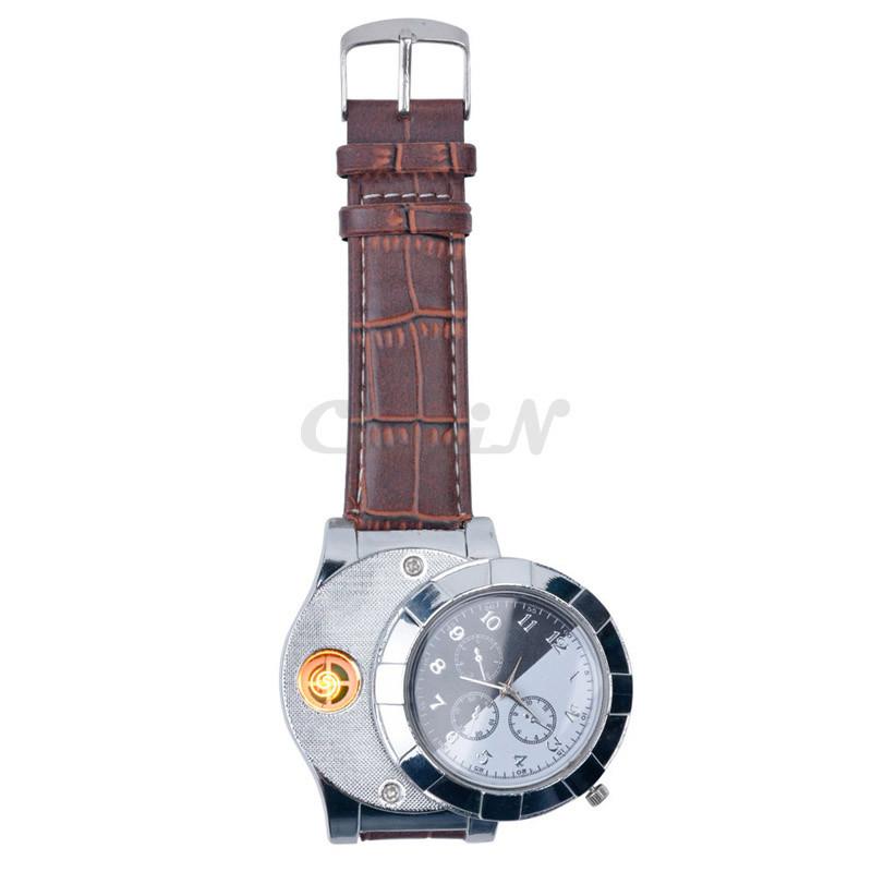 Moda F667 Akumulator USB Zapalniczki Zegarki Elektroniczne Bezpłomieniowe Zapalniczki Wiatroszczelna męska Casual Kwarcowe Zegarki Na Rękę 5