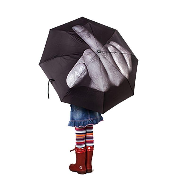 Keskmist sõrme näitav vihmavari