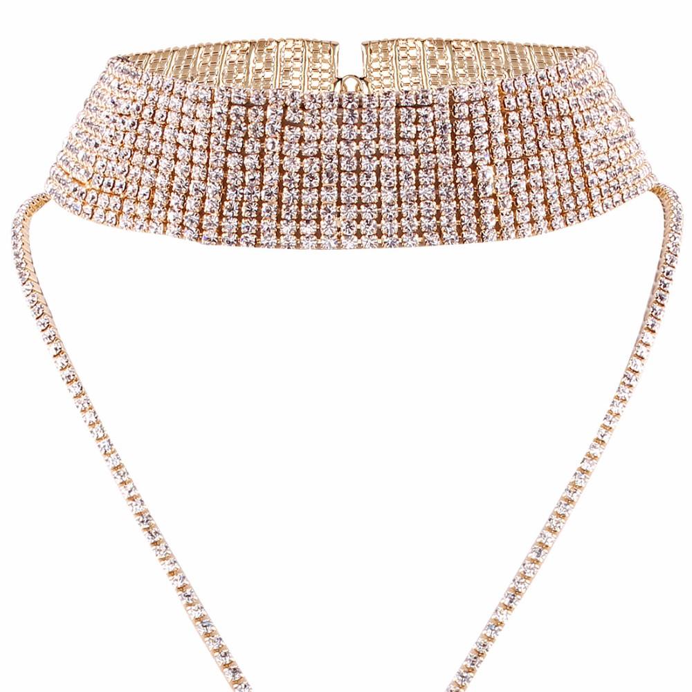 Rhinestone Crystal Luxury Choker Statement Necklace Jewelry 6