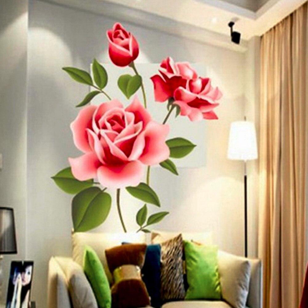 2017 Nowy Arrical Naklejki Decoratifs Maison Romantyczna Miłość Rose Flower 3D Wymienny Naklejki Ścienne Home Decor Pokoju Kalkomanie 6