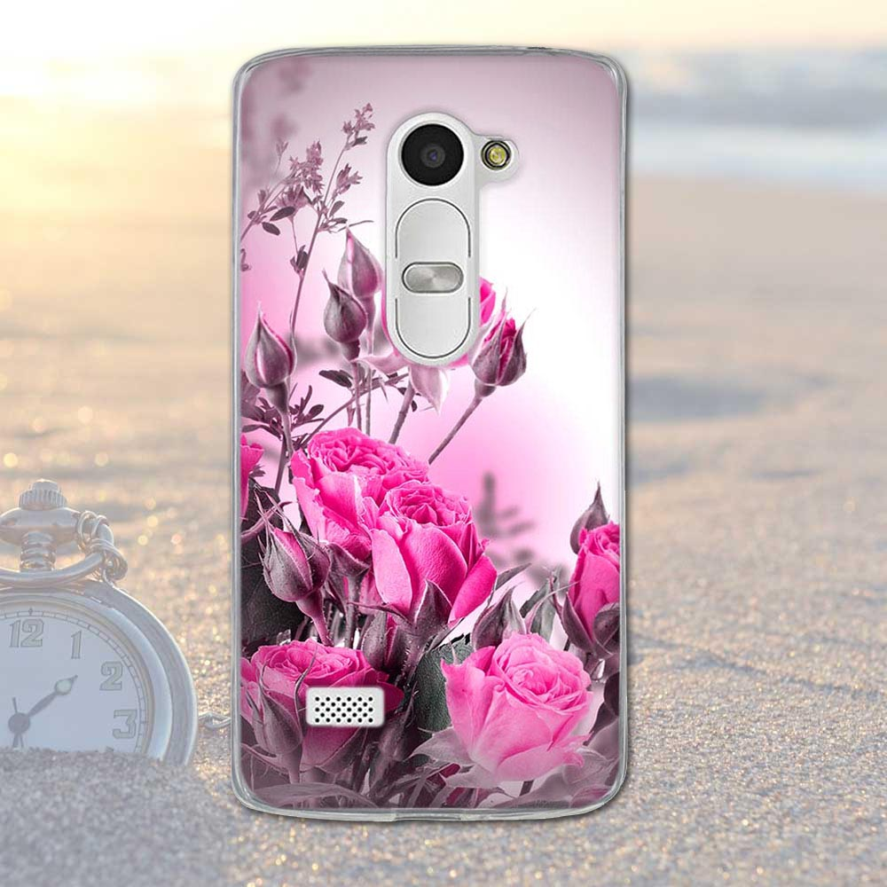 Fundas telefon case pokrywa dla lg leon 4g lte h340n c50 c40 miękka tpu krzemu kwiaty zwierzęta dekoracje mobile phone bag pokrywa dla lg 3