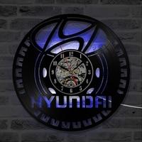 Hyundai Car Logo Vinyl Record Wall Clock Round Hollow CD Record Clock Creative Antique Style Home Decor Hanging LED Clock