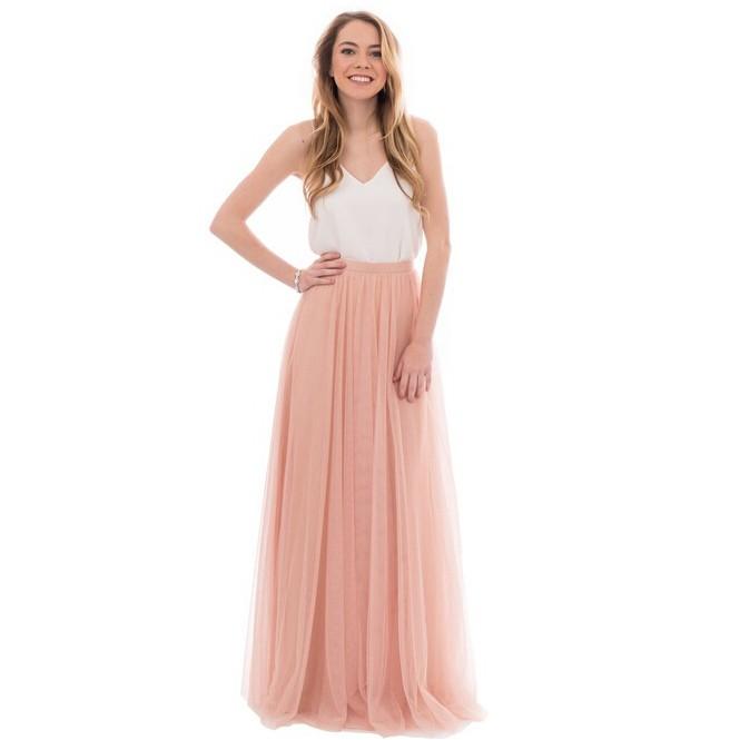 Elegant A-Line V-Neck Tulle Skirt Long Bridesmaid Dress 3
