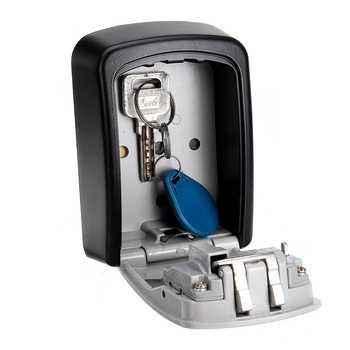 Safe Key Box Wall Mounted 4 Password Keys Combination Lock Metal