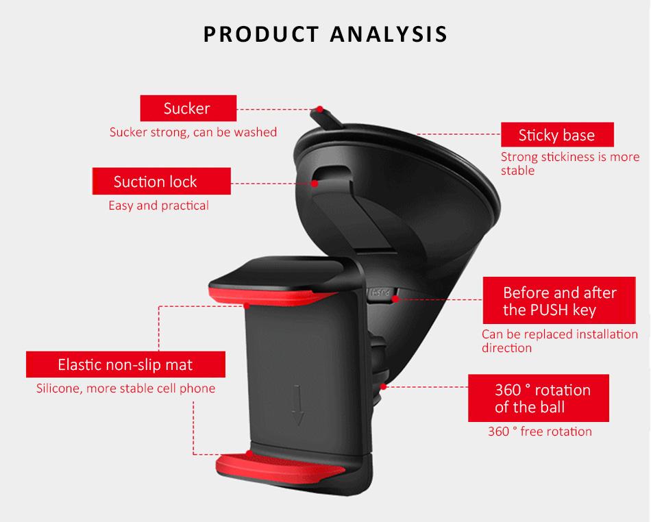 ESVNE Uniwersalny Telefon Samochodowy uchwyt szyby zamontować uchwyt na telefon komórkowy stojak uchwyt Samochodowy uchwyt na telefon Komórkowy Smartfon Telefon 5