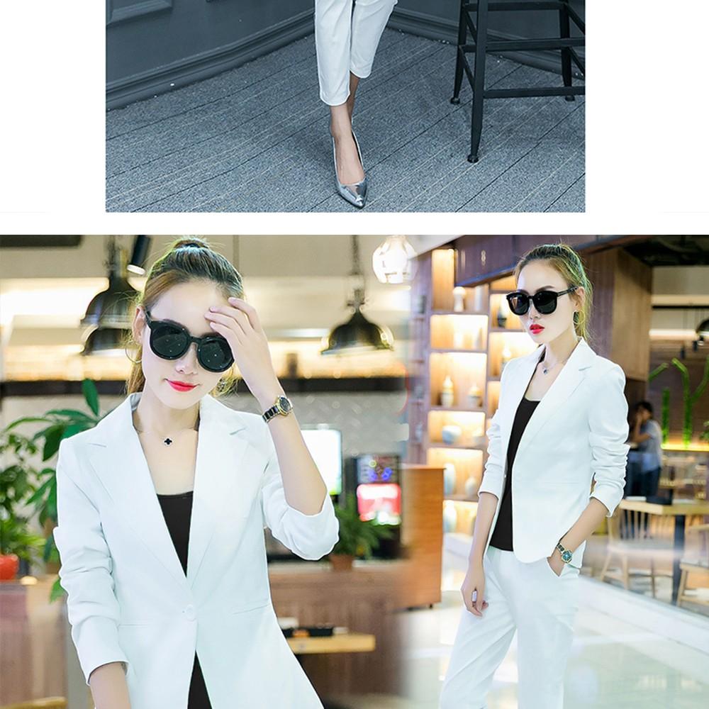 2017 w nowym stylu mody OL eleganckie kobiety pant suits formalna firm garnitur nosić pełne rękawem jednego przycisku femme blazer garnitur szczupła kurtka 14