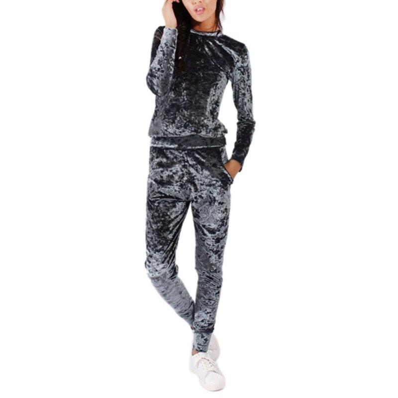 WJ Seksowne Kobiety Dres Ustawia 2017 Nowy Jesień Zima Moda Aksamitne długi Rękaw Bluzy Topy + Spodnie Wąskie Garnitury Femme 2 Sztuka Zestaw 12