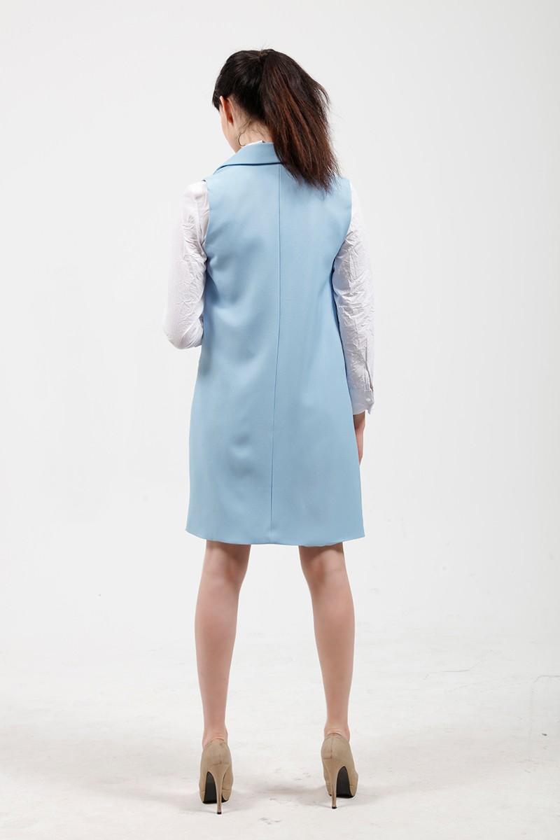 2017 wiosna nowy mody długie kieszenie turn-dół collar otwórz stitch pantone niebieski różowy beżowy czarny żakiet kamizelka bez rękawów kurtki 18