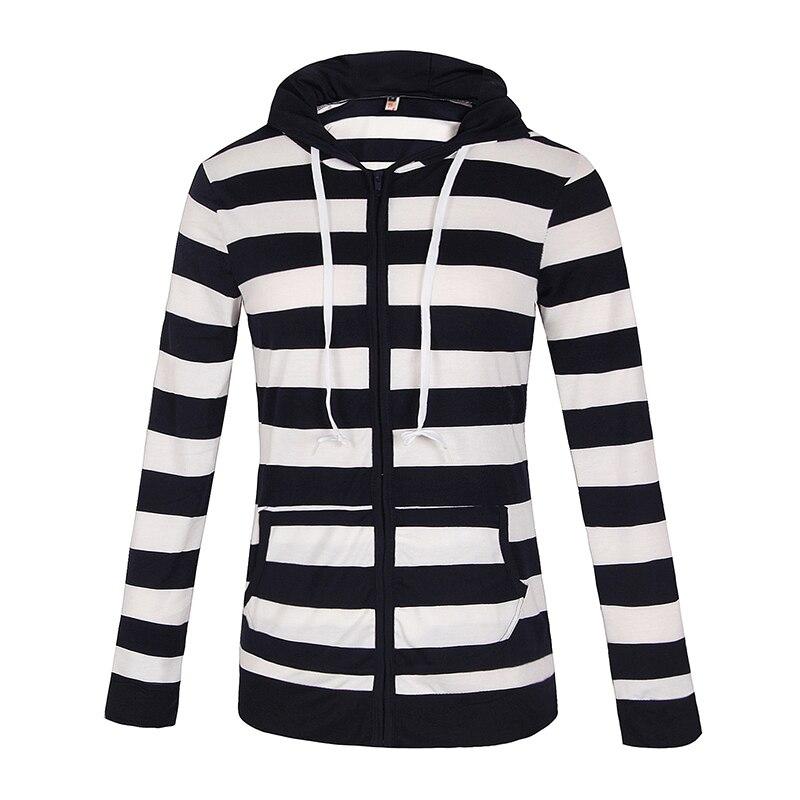 Moda damska Stripes Casual Zipper Bluzy Z Kapturem Kieszeni Kobiety Bluza Plus Rozmiar S-5XL LJ7847R 10
