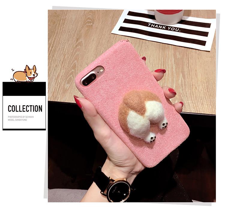 Corgi case handmake igły filcu wełnianego słodkie cat dog tyłek tyłek pokrywa dla apple iphone 6 6s plus iphone 7 7 p miękkie telefon komórkowy case 8