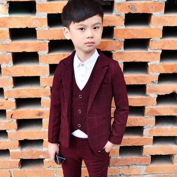 200cb6fee 2018 New 3PCS Kids Plaid Wedding Blazer Suit Brand Flower Boys ...