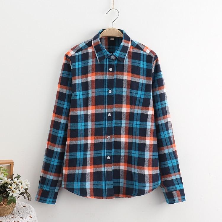 2016 Moda Plaid Shirt Kobiet College style damskie Bluzki Z Długim Rękawem Koszula Flanelowa Plus Rozmiar Bawełna Blusas Biuro topy 7