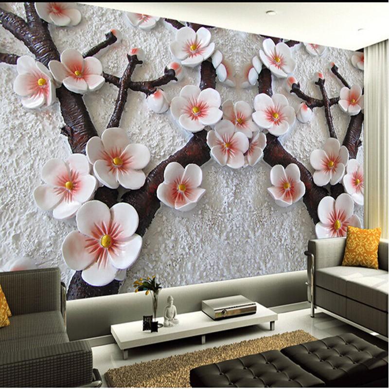 Niestandardowe fototapeta sztuka Nowoczesna malarstwo wysokiej jakości salon TV tło tapety ścienne 3d relief plum zdjęcie ściany papieru 7