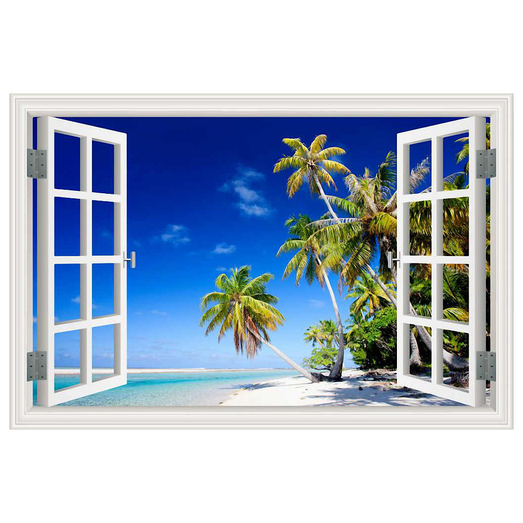 Wall Stickers Home Decor Summer Beach Coconut Tree Picture Removable Vinyl Decals Landscape Wallpaper Modern Decoration