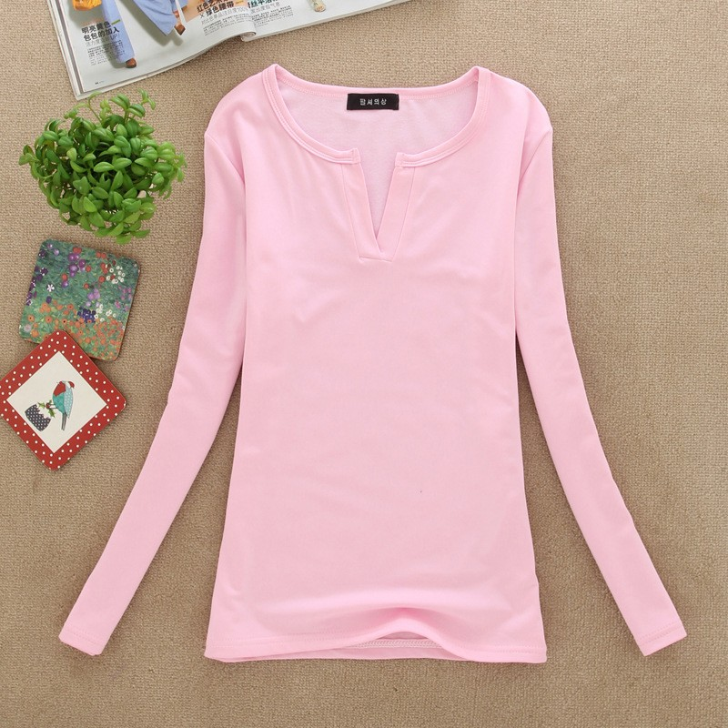 2017 stałe 14 kolory Dekolt Bluzki Sexy Szczupła Dzianiny Długi rękaw chemise femme koreański bluzki dla kobiet koszula clothing góry bluzka 22