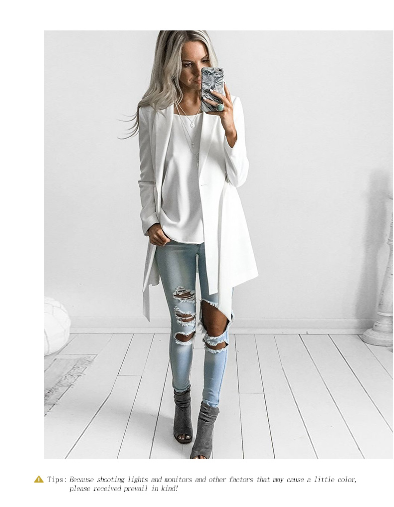 RichLuLu Bialy Blazer Kobiety Odzież Belt Biuro Panie Długi Rękaw Elegancka Kurtka Kobiet Głęboki Dekolt Blazer Cardigans 15