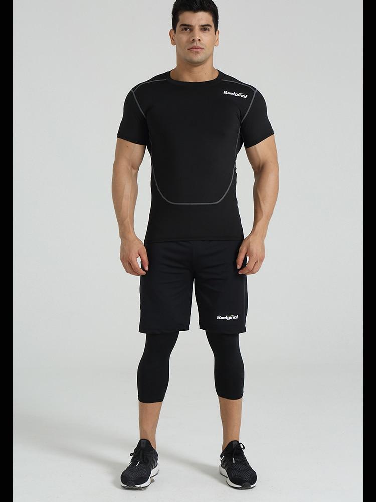3 Sztuk Ubrania Męskie Kombinezony Sportowe Do Biegania Dla Mężczyzn Krótki kompresja Rajstopy Gym Fitness T Shirt Przycięte Spodnie Szybkie Pranie zestawy 14