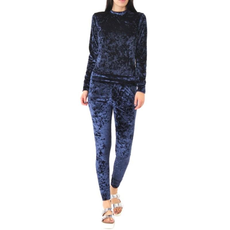 WJ Seksowne Kobiety Dres Ustawia 2017 Nowy Jesień Zima Moda Aksamitne długi Rękaw Bluzy Topy + Spodnie Wąskie Garnitury Femme 2 Sztuka Zestaw 8