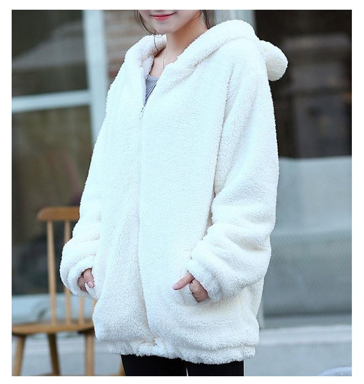 Hot Sprzedaż Kobiety Swetry Zipper Dziewczyna Zima Luźne Puszyste Niedźwiedź Ucha Bluza Z Kapturem Kurtka Warm Odzież Wierzchnia Płaszcz słodkie bluza H1301 1
