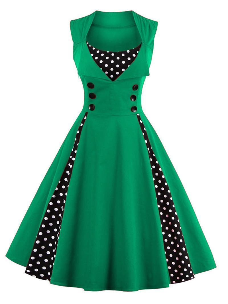 S-4xl kobiety robe pin up dress retro 2017 vintage 50 s 60 s rockabilly dot huśtawka lato kobiet suknie eleganckie tunika vestido 5