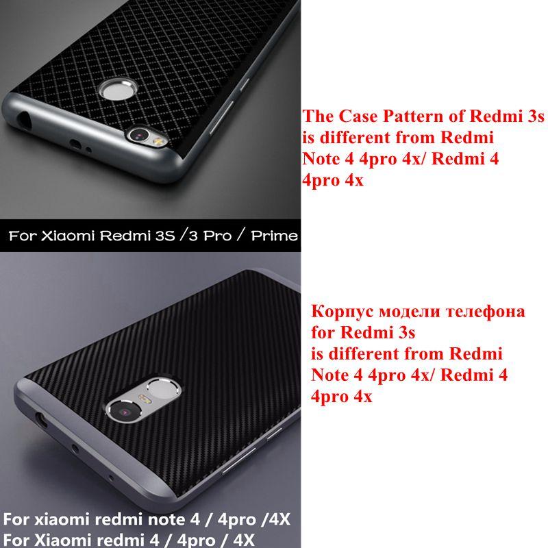 4x dla xiaomi redmi case silicon hybrid tpu + pc rama tylna pokrywa dla xiaomi redmi 3 pro/redmi note 4 4pro 4x/redmi 4 4pro 4x 1