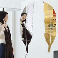 DIY 3D 깃털 거울 벽 스티커 아크릴 벽 스티커, 홈 장식 실버 골드 침실 벽 스티커 73x18cm