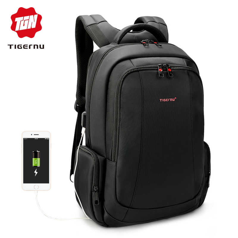 27769da67a Tigernu 15.6inch 27L USB Charging Anti theft Waterproof Nylon Mochila  Travel Men Backpacks Bags Casual