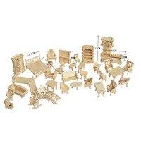 1SET = 34PCS , AIBOULLY 나무 인형 집 인형 집 가구 지그 소 퍼즐 규모 미니어처 모델 DIY 액세서리 세트