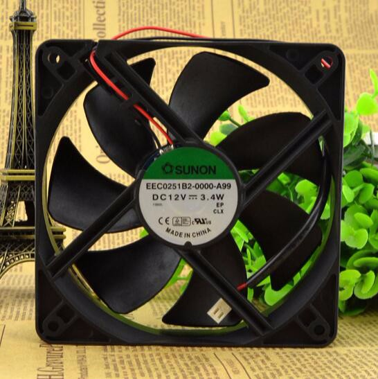 Wholesale: original SUNON EEC0251B2-0000-A99 12V 3.4W 12CM 120*120*25 2 line mute fan