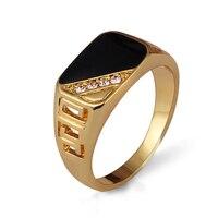 Ajogem-사이즈 7-12 클래식 골드 컬러 라인석 남성용 반지, 블랙 에나멜 남성 손가락 반지, 베스트셀러