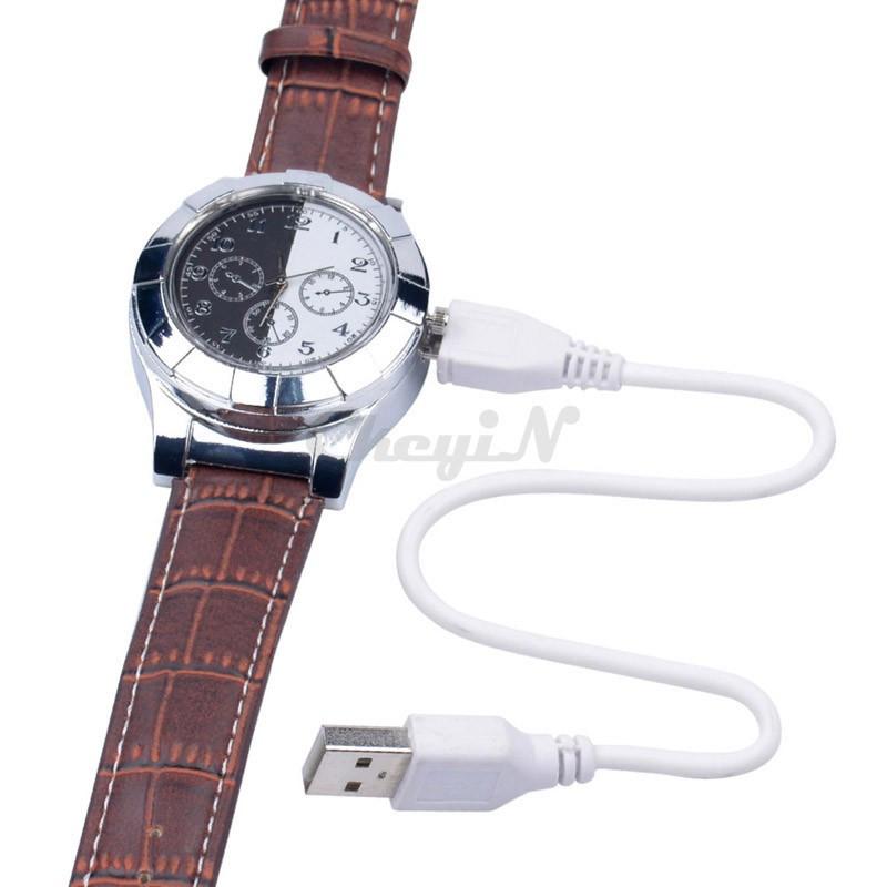 Moda F667 Akumulator USB Zapalniczki Zegarki Elektroniczne Bezpłomieniowe Zapalniczki Wiatroszczelna męska Casual Kwarcowe Zegarki Na Rękę 16