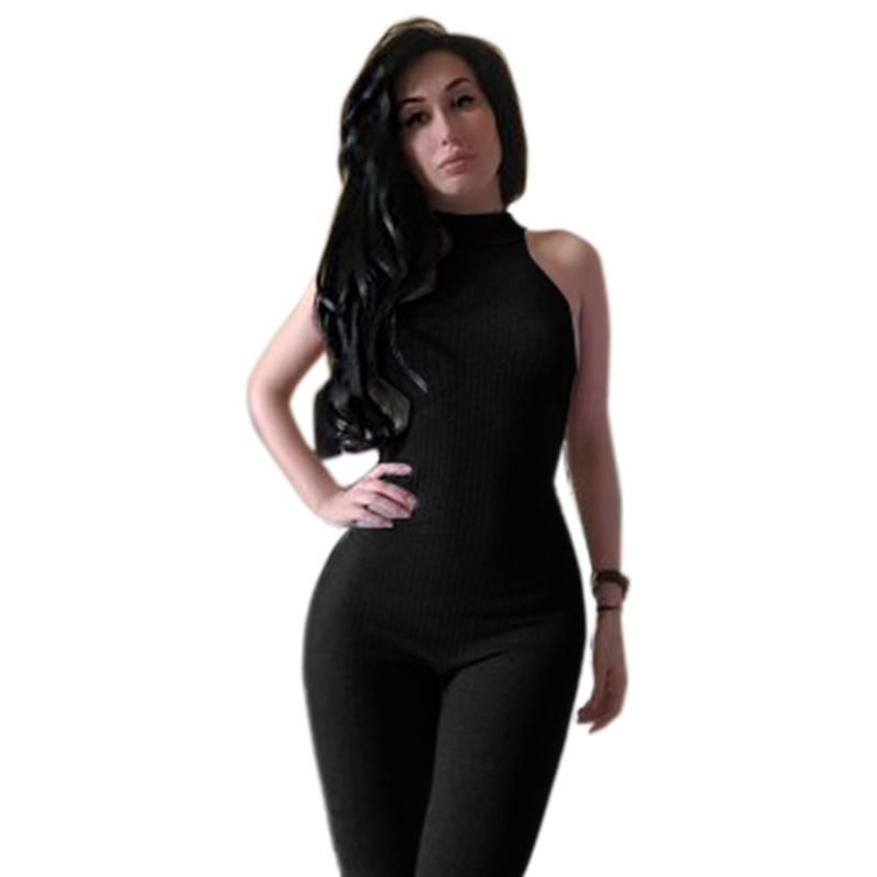 Kobiet Nowej Mody Pajacyki I Kombinezony Kobiety Sexy Backless Rękawów Kombinezony Playsuit Body Eleganckie Dzianiny 7