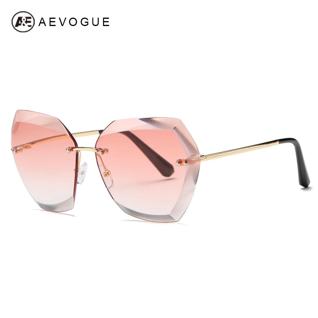 aa1379a02a AEVOGUE gafas de sol para mujer Ojo de gato sin montura de diamante de  corte de