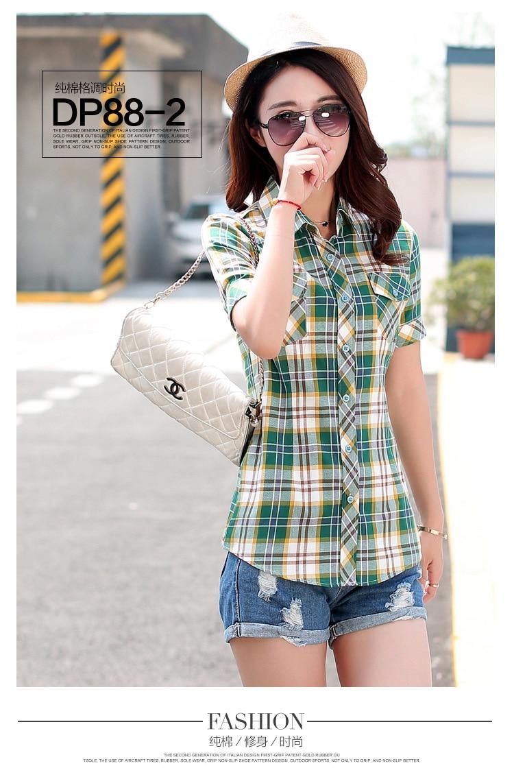 Brand New 2017 Lato Styl Plaid Drukuj Krótki Rękaw Koszule kobiety Plus Rozmiar Bluzki Na Co Dzień 100% Bawełna Topy Blusas 14 kolory 7