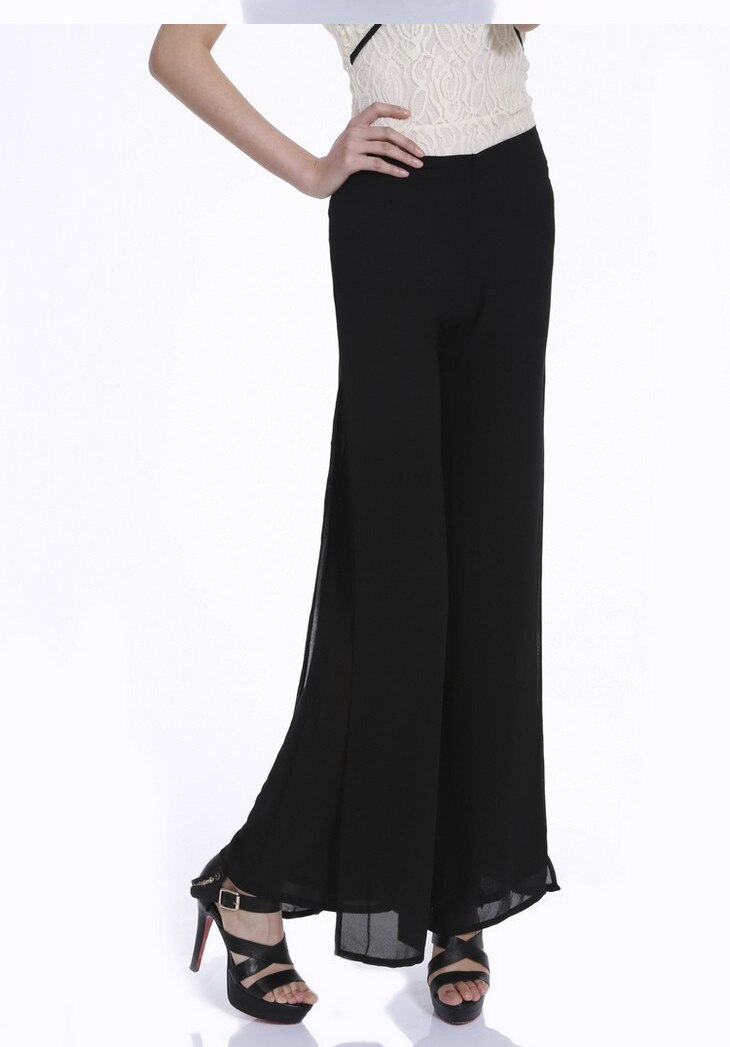 Vintage Loose High Waist Long Chiffon Side Split Casual Pants 6