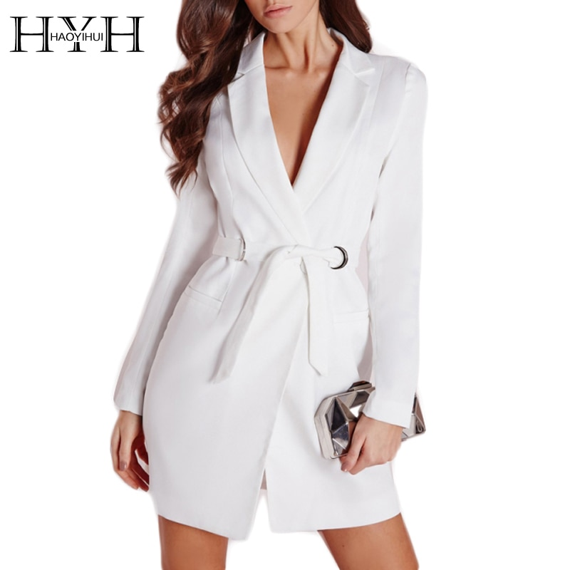 Hyh haoyihui kobiety dress vestidos bialy wysokiej talii dorywczo szczupła ol sukienki sexy plunge neck elegancka marynarka mini dress 6