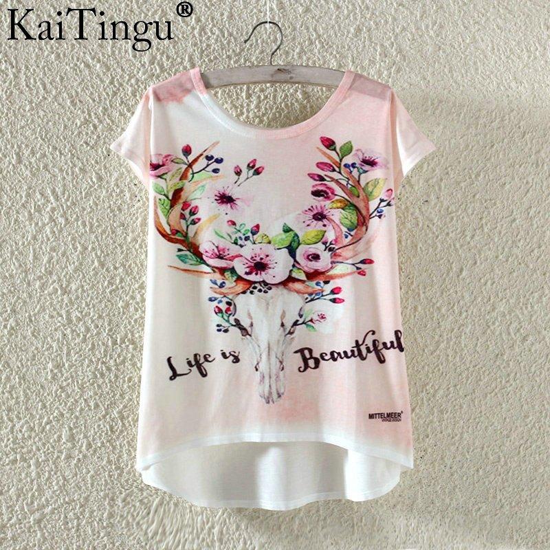 Kaitingu kawaii śliczne t koszula moda lato harajuku wysoki niski styl cat print t-shirt z krótkim rękawem t shirt kobiet topy plus size 19