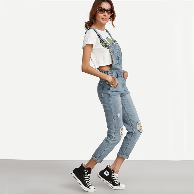Dotfashion Kamień Wash Denim Ripped Jeans Ogólne Kobiety Śliczne Wear Vintage Kombinezony Bez Rękawów z Kieszeniami 5