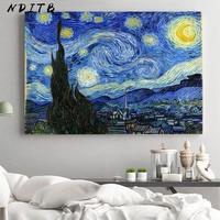 Van Gogh-lienzo de paisaje abstracto de Noche Estrellada, póster de arte de pared clásico famoso, cuadro decorativo, decoración para sala de estar moderna