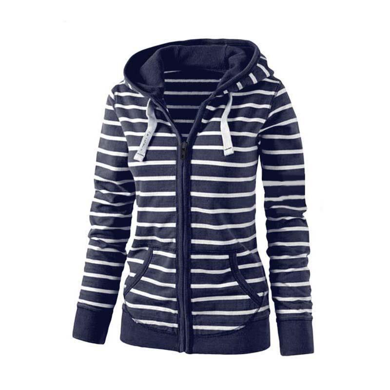 Moda damska Stripes Casual Zipper Bluzy Z Kapturem Kieszeni Kobiety Bluza Plus Rozmiar S-5XL LJ7847R 2