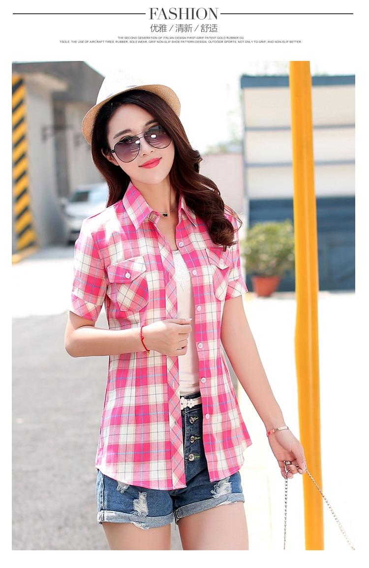 Brand New 2017 Lato Styl Plaid Drukuj Krótki Rękaw Koszule kobiety Plus Rozmiar Bluzki Na Co Dzień 100% Bawełna Topy Blusas 14 kolory 30