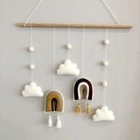 북유럽 스타일 귀여운 펠트 구름 모양 벽 매달려 장식 나무 스틱 술 펜던트 키즈 룸 장식 사진 소품
