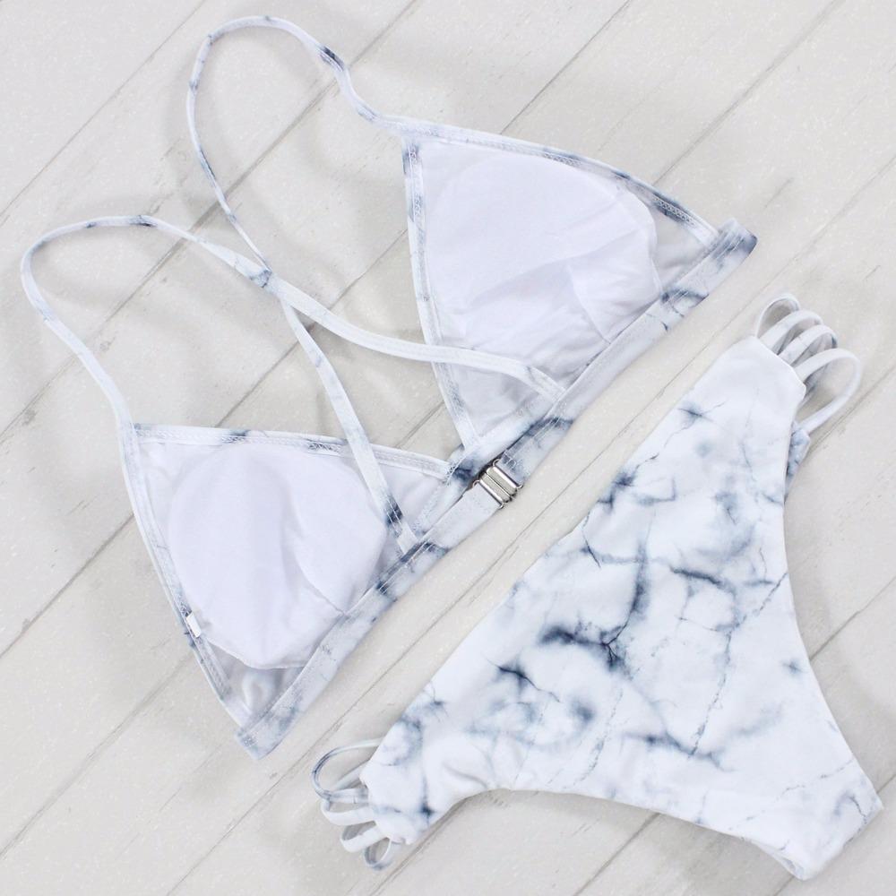 Sexy Bandeau Bikini Set Retro Drukuj Bandaż Strój Kąpielowy Bikini Brazylijskie Wyciąć Biquini Brasileiro Swimsuit Stroje Kąpielowe Stroje Kąpielowe 2017 Kobiet 4